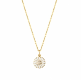 DAISY Pendant with Diamonds, Small 18ct gold plated sterling silver