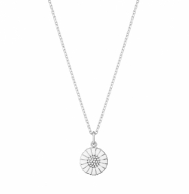 DAISY Pendant with Diamonds, small Rhodium plated sterling silver