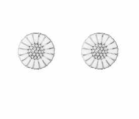 DAISY Earrings with Diamonds Rhodium plated sterling silver