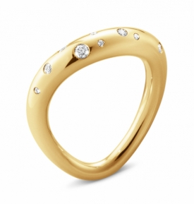 Georg Jensen OFFSPRING Scattered Diamond Ring in 18ct Yellow Gold