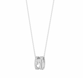 FUSION White Gold and Pavé Diamond Open Pendant