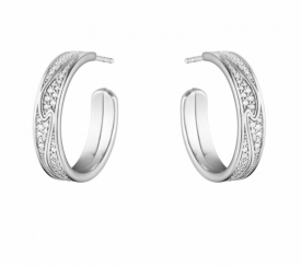 FUSION White Gold & Pavé Large Earhoop