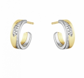 FUSION SMALL EARHOOP 1637A Yellow White Gold Pavé Diamonds