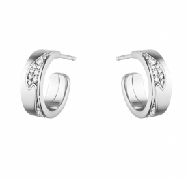 FUSION SMALL EARHOOP White Gold Pavé Diamonds