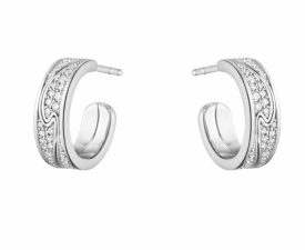 FUSION White Gold & Pavé Small Earhoop