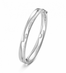 FUSION OPEN BANGLE in White Gold with Pavé Diamonds