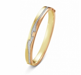 FUSION BANGLE YELLOW, WHITE AND ROSE GOLD  with Pavé Diamonds