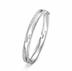 FUSION OPEN BANGLE White Gold with Full Pavé