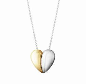 Curve Heart Pendant in Silver and Gold