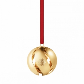 2020 Christmas Ball Bauble in 18ct gold plated brass with red ribbon