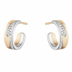FUSION Rose and White Gold Earhoops with Pavé Diamonds Small