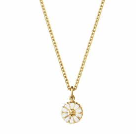 Georg Jensen DAISY 2020 small Pendant in 18ct gold plated sterling silver with hand-painted White enamel