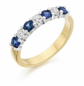7 Stone Sapphire and Diamond Half Eternity Ring 0.63ct