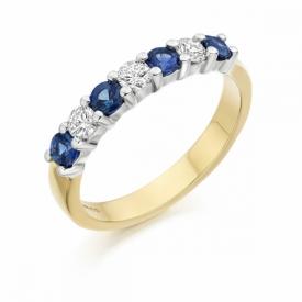 7 Stone Sapphire and Diamond Half Eternity Ring 0.48ct
