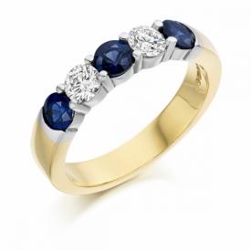 5 Stone Sapphire and Diamond Half Eternity Ring 1.01ct