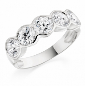 Diamond Round Brilliant Five Stone Ring with GIA certificates