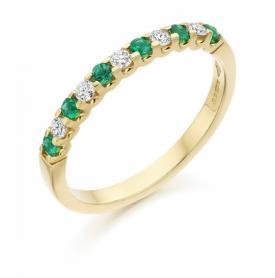 11 Stone Emerald and Diamond Half Eternity Ring 0.16ct