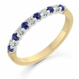 11 Stone Sapphire and Diamond Cog-Set Half Eternity Ring 0.21ct