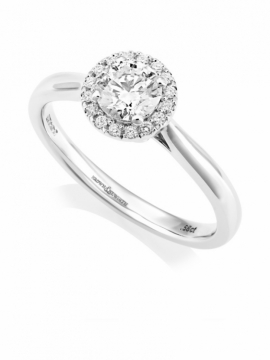 Platinum Brilliant Cut Diamond Halo Ring - 0