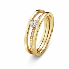 Stunning HALO Solitaire Ring  in 18ct Yellow Gold with a 0.20ct Solitaire Diamond available at Jeremy Bloomfield in Ilkley