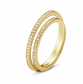 Double Diamond HALO Ring 18ct Yellow Gold with 0.39ct Brilliant Cut Diamonds