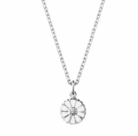 Georg Jensen DAISY 2020 small Pendant in Rhodium plated sterling silver with hand-painted White enamel