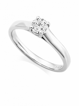 Platinum Brilliant Cut Diamond Ring - 0