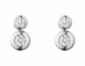 AURORA White Gold Diamond Double Drop stud Earrings