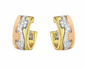 FUSION 3 Gold Earrings with Pavé Diamonds