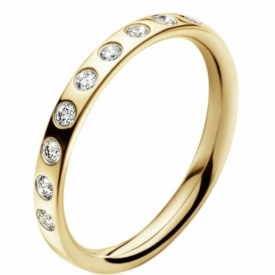 MAGIC Yellow Gold Inner Ring with scattered diamonds