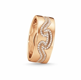Fusion Rose Gold Two-Part Ring with Pave Diamond Edging