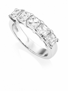 Platinum Asscher Cut 5 Stone Diamond Ring - 0