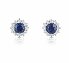 Round Sapphire Earrings 0.74ct with effervescent Diamond Star Halos