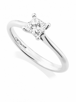 Platinum Princess Cut Diamond Ring - 0