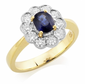 Vintage Style Oval Sapphire 0.59ct and Diamond Flower Halo Ring