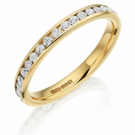 Diamond Set Wedding Ring Full in 18ct Yellow Gold (0.60ct)