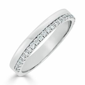 CHARLES GREEN Platinum and Diamond Set Wedding Ring 83X39