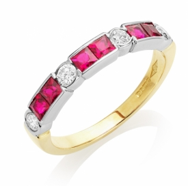 Art Deco Style Ruby 0.78ct and Diamond Ring
