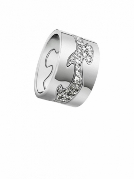 FUSION 3-Part White Gold Ring with Pavé Diamond Centre - 0