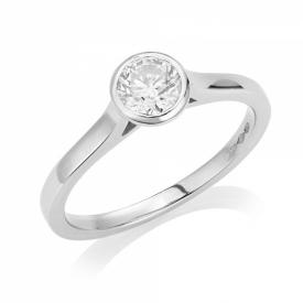 Round Brilliant Rubover Diamond Ring 0.50ct in Platinum