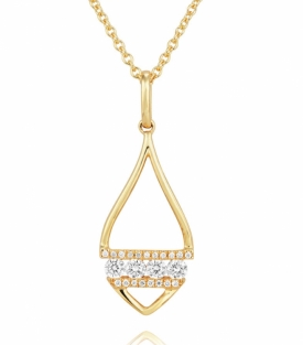 Diamond Banded Leaf Pendant in 18ct Yellow Gold