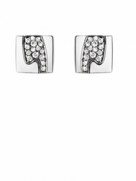 FUSION White Gold Square Ear Studs with Pavé Set Diamonds - 0