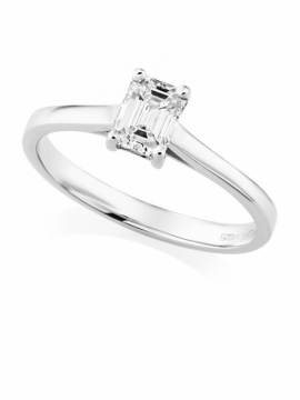 Platinum Emerald Cut Ring - 0