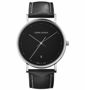 KOPPEL - 38 mm, Quartz, black dial, black leather strap Georg Jensen