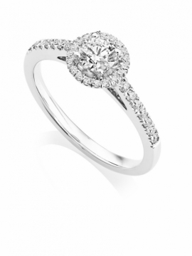 Brilliant Cut Diamond Halo Ring in 18ct White Gold - 0