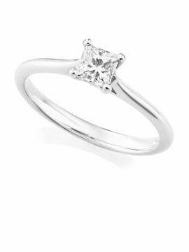 Platinum Princess Cut Diamond Ring - 0