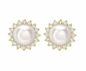 Pearl and Diamond Sun Earrings