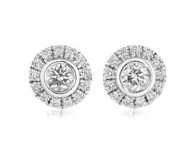 Art Deco Style Diamond Halo Earrings 0.46ct