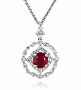 Ruby and Diamond Tracery Pendant in 18ct White Gold