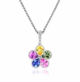 Multi-Coloured Sapphire Circle Pendant with diamonds in 18ct White Gold